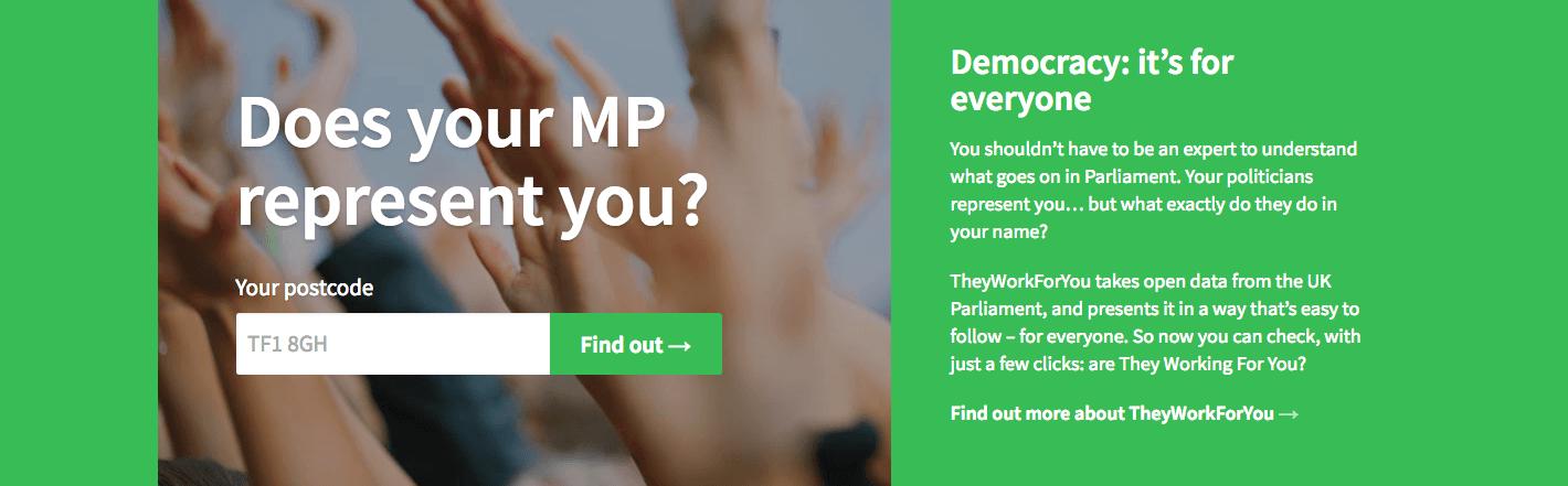 Find my MP democracy better britain