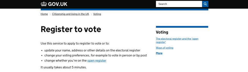 Register to vote general election 2017
